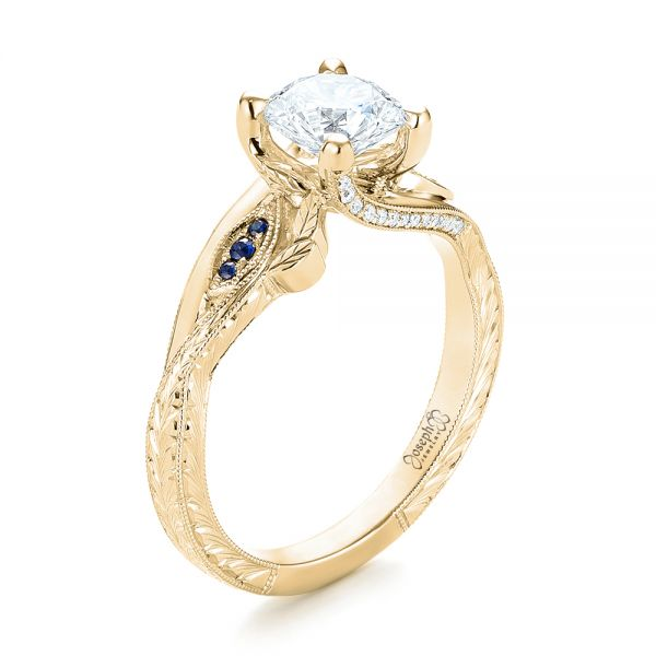 14K Yellow Gold Custom Blue Sapphire and Diamond Engagement Ring - Three-Quarter View -  103409 - Thumbnail