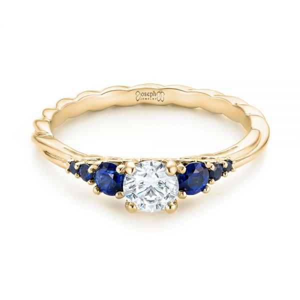 14k Yellow Gold 14k Yellow Gold Custom Blue Sapphire And Diamond Engagement Ring - Flat View -  103015