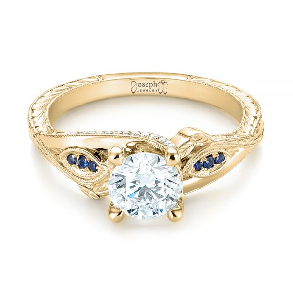 14K Yellow Gold Custom Blue Sapphire and Diamond Engagement Ring - Flat View -  103409 - Thumbnail