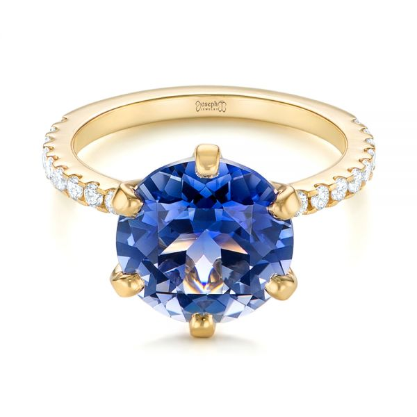14k Yellow Gold Custom Blue Sapphire And Diamond Engagement Ring - Flat View -