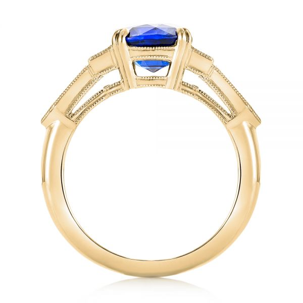 18k Yellow Gold 18k Yellow Gold Custom Blue Sapphire And Diamond Engagement Ring - Front View -