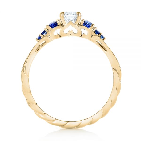 14k Yellow Gold 14k Yellow Gold Custom Blue Sapphire And Diamond Engagement Ring - Front View -  103015