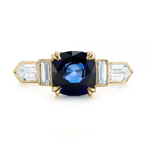 18k Yellow Gold 18k Yellow Gold Custom Blue Sapphire And Diamond Engagement Ring - Top View -