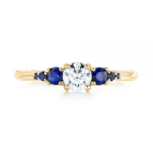 14k Yellow Gold 14k Yellow Gold Custom Blue Sapphire And Diamond Engagement Ring - Top View -  103015
