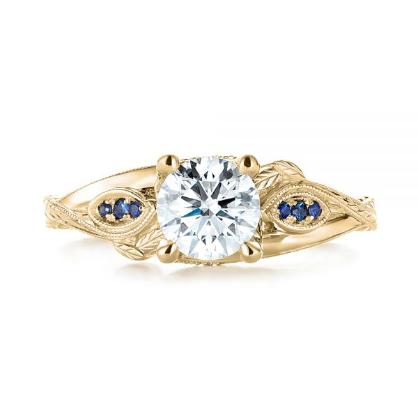 14K Yellow Gold Custom Blue Sapphire and Diamond Engagement Ring - Top View -  103409 - Thumbnail