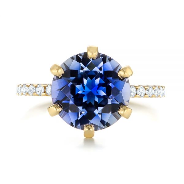 14k Yellow Gold Custom Blue Sapphire And Diamond Engagement Ring - Top View -