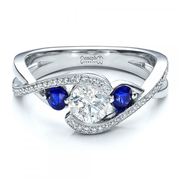 ... Custom Blue Sapphire and Diamond Engagement Ring - Laying View ...