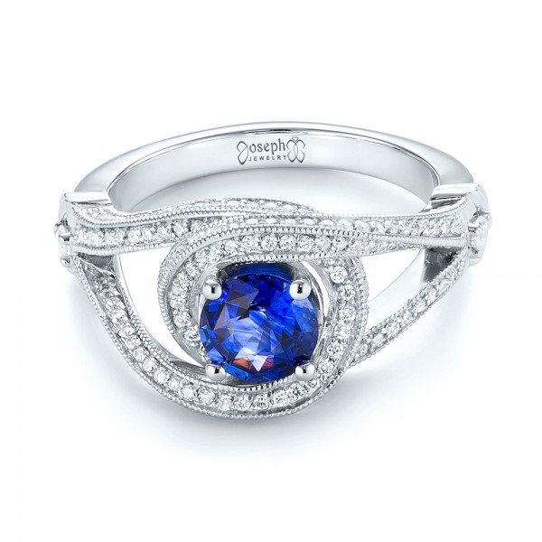 Custom Blue Sapphire and Diamond Engagement Ring - Laying View