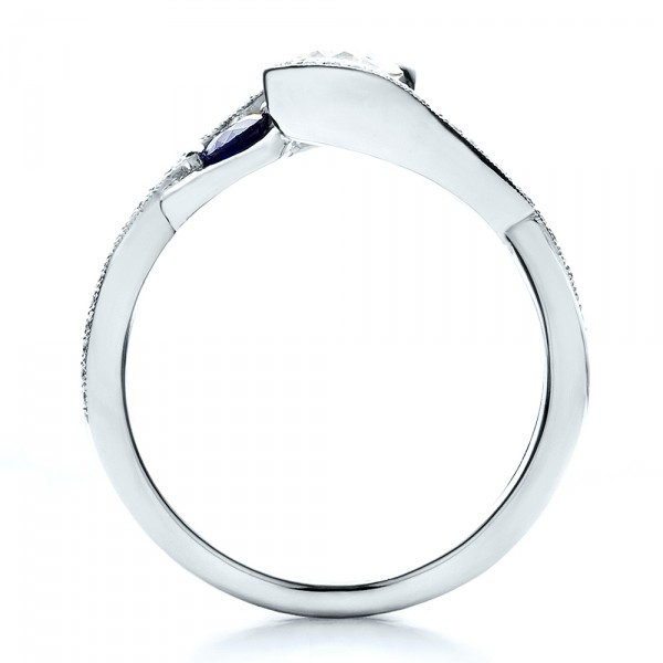 Custom Blue Sapphire and Diamond Engagement Ring - Front View -  100056 - Thumbnail