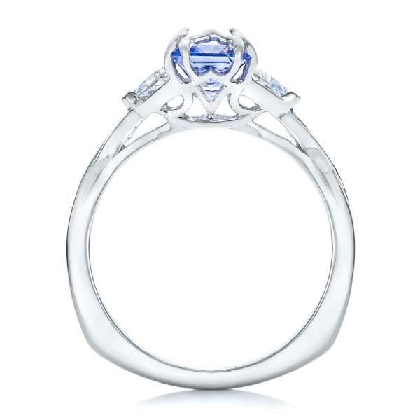 Custom Blue Sapphire and Diamond Three Stone Engagement Ring - Front View -  102271 - Thumbnail