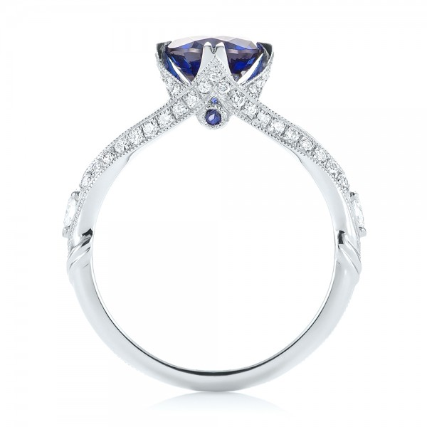 Custom Blue Sapphire and Diamond Engagement Ring - Finger Through View