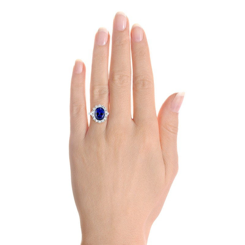 Custom Blue Sapphire and Diamond Engagement Ring - Hand View -  103055 - Thumbnail