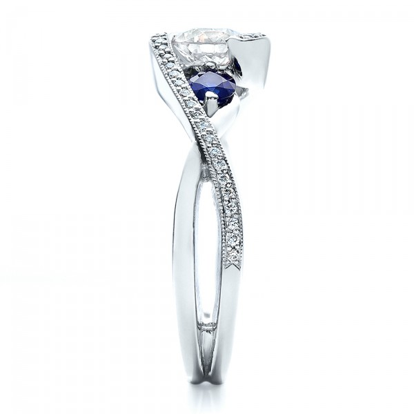 Custom Blue Sapphire and Diamond Engagement Ring - Side View -  100056 - Thumbnail