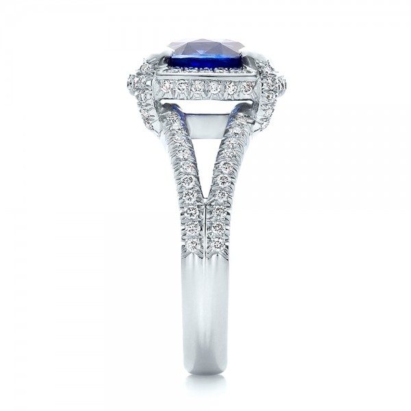 Custom Blue Sapphire and Diamond Engagement Ring - Side View