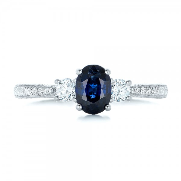 Custom Blue Sapphire and Diamond Engagement Ring - Top View