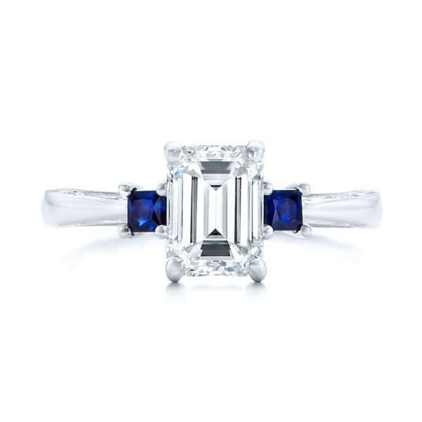 Custom Three Stone Blue Sapphire and Diamond Engagement Ring - Top View