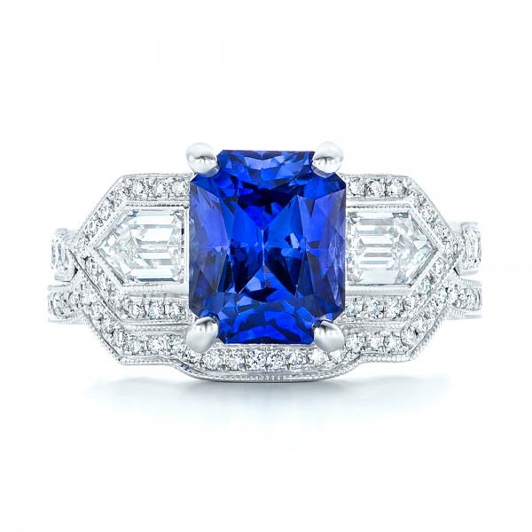 Custom Blue Sapphire and Diamond Engagement Ring - Top View -  102783 - Thumbnail