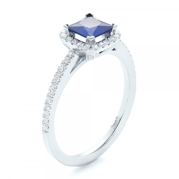 Custom Blue Sapphire and Diamond Halo Engagement Ring