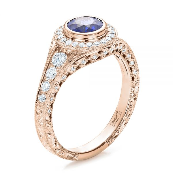 Custom Blue Sapphire and Diamond Halo Engagement Ring - Image