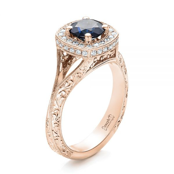 18k Rose Gold 18k Rose Gold Custom Blue Sapphire And Diamond Halo Engagement Ring - Three-Quarter View -  102153