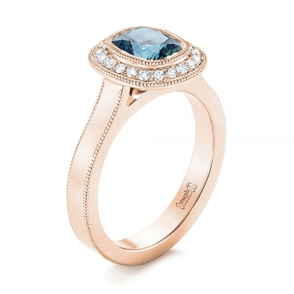 18k Rose Gold 18k Rose Gold Custom Blue Sapphire And Diamond Halo Engagement Ring - Three-Quarter View -