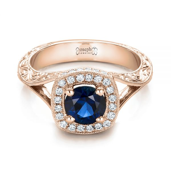 18k Rose Gold 18k Rose Gold Custom Blue Sapphire And Diamond Halo Engagement Ring - Flat View -  102153