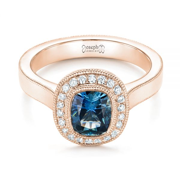 18k Rose Gold 18k Rose Gold Custom Blue Sapphire And Diamond Halo Engagement Ring - Flat View -