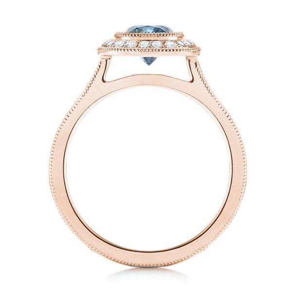 18k Rose Gold 18k Rose Gold Custom Blue Sapphire And Diamond Halo Engagement Ring - Front View -