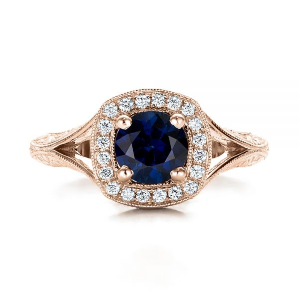 18k Rose Gold 18k Rose Gold Custom Blue Sapphire And Diamond Halo Engagement Ring - Top View -  102153