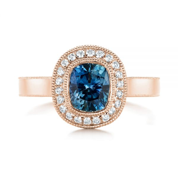 18k Rose Gold 18k Rose Gold Custom Blue Sapphire And Diamond Halo Engagement Ring - Top View -