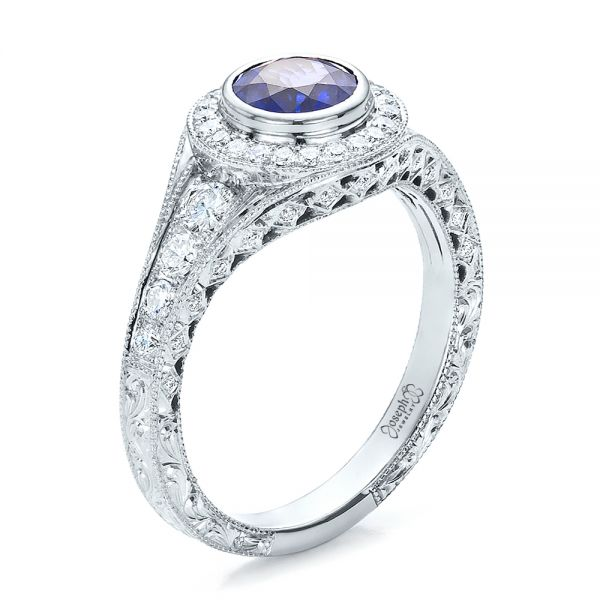 Custom Blue Sapphire and Diamond Halo Engagement Ring - Three-Quarter View -  100268 - Thumbnail