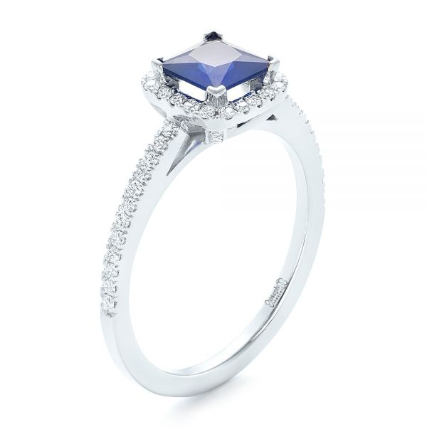 14k White Gold Custom Blue Sapphire And Diamond Halo Engagement Ring - Three-Quarter View -
