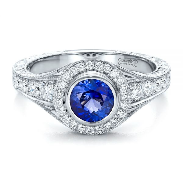 Custom Blue Sapphire and Diamond Halo Engagement Ring - Flat View -  100268 - Thumbnail