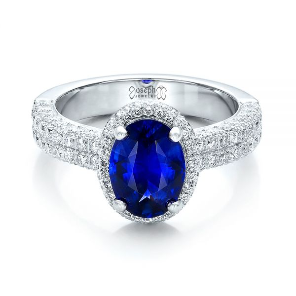 Custom Blue Sapphire and Diamond Halo Engagement Ring - Flat View -  100605 - Thumbnail