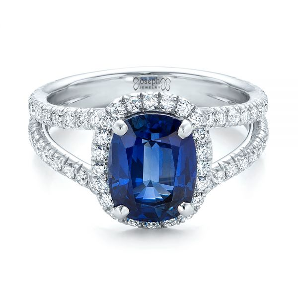 Custom Blue Sapphire and Diamond Halo Engagement Ring - Flat View -  102018 - Thumbnail