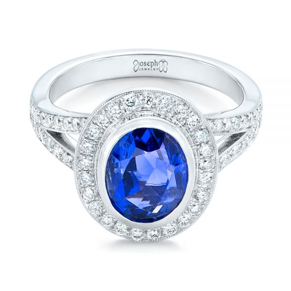 14k White Gold 14k White Gold Custom Blue Sapphire And Diamond Halo Engagement Ring - Flat View -