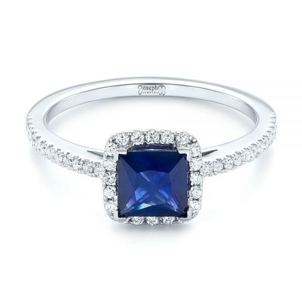 Custom Blue Sapphire and Diamond Halo Engagement Ring - Flat View -  102485 - Thumbnail