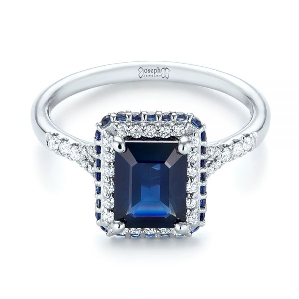 14k White Gold Custom Blue Sapphire And Diamond Halo Engagement Ring - Flat View -