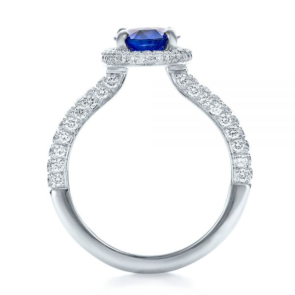 Custom Blue Sapphire and Diamond Halo Engagement Ring - Front View -  100605 - Thumbnail