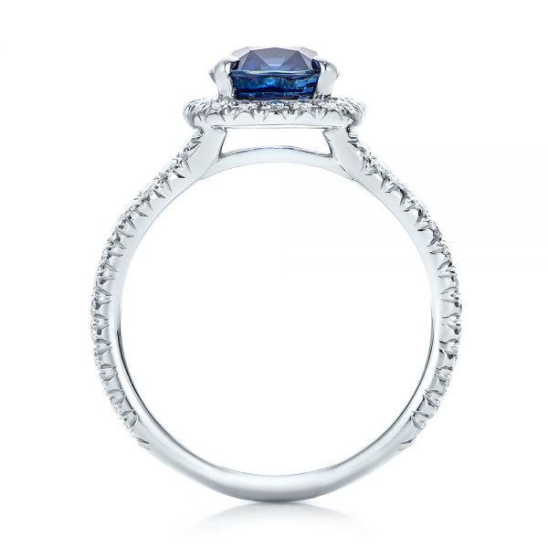 Custom Blue Sapphire and Diamond Halo Engagement Ring - Front View -  102018 - Thumbnail