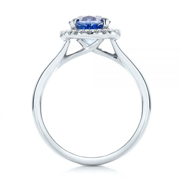 Custom Blue Sapphire and Diamond Halo Engagement Ring - Front View -  102028 - Thumbnail