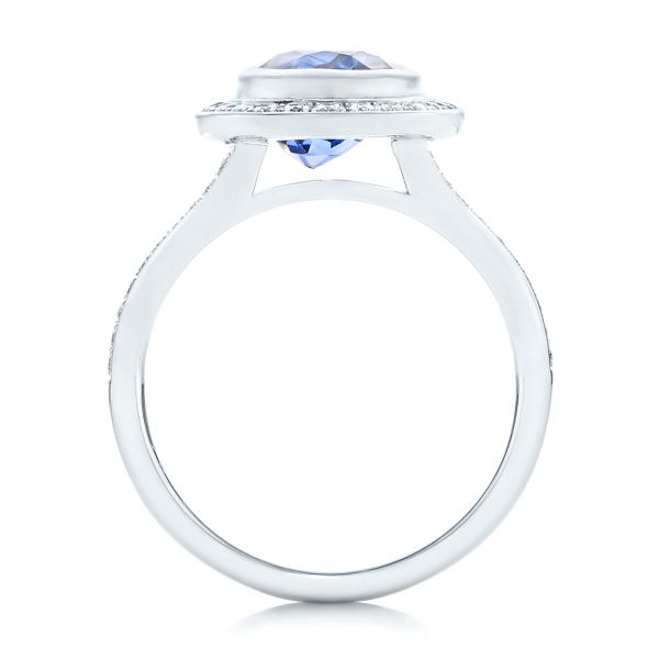 14k White Gold 14k White Gold Custom Blue Sapphire And Diamond Halo Engagement Ring - Front View -