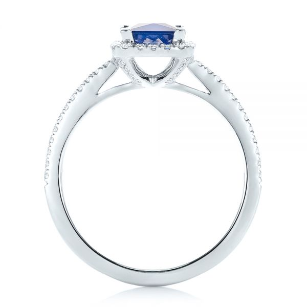14k White Gold Custom Blue Sapphire And Diamond Halo Engagement Ring - Front View -