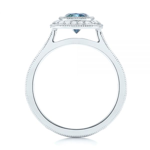 Platinum Custom Blue Sapphire And Diamond Halo Engagement Ring - Front View -
