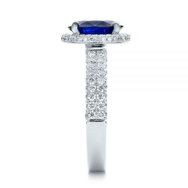 Custom Blue Sapphire and Diamond Halo Engagement Ring - Side View -  100605 - Thumbnail