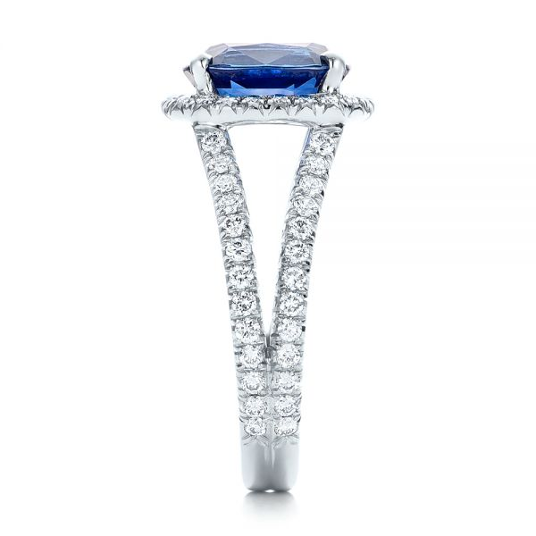 Custom Blue Sapphire and Diamond Halo Engagement Ring - Side View -  102018 - Thumbnail