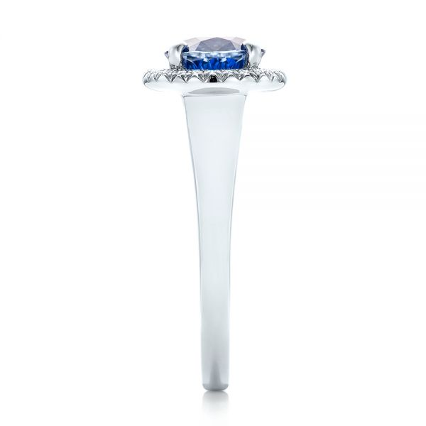 Custom Blue Sapphire and Diamond Halo Engagement Ring - Side View -  102028 - Thumbnail