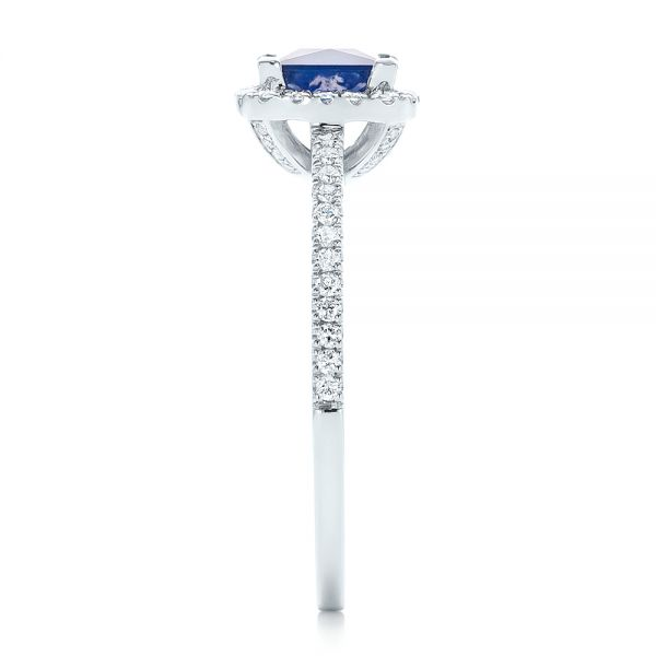 14k White Gold Custom Blue Sapphire And Diamond Halo Engagement Ring - Side View -