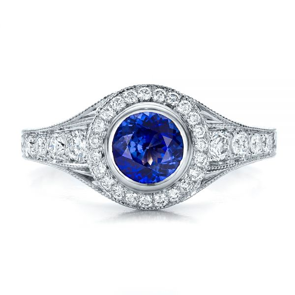 Custom Blue Sapphire and Diamond Halo Engagement Ring - Top View -  100268 - Thumbnail