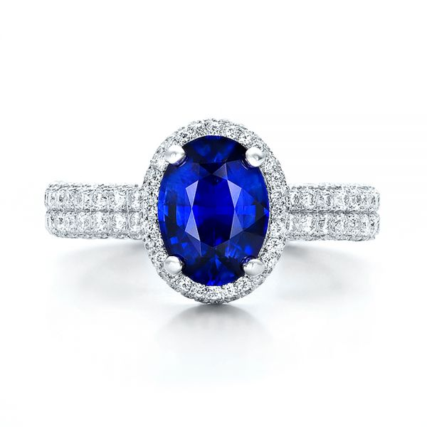 Custom Blue Sapphire and Diamond Halo Engagement Ring - Top View -  100605 - Thumbnail